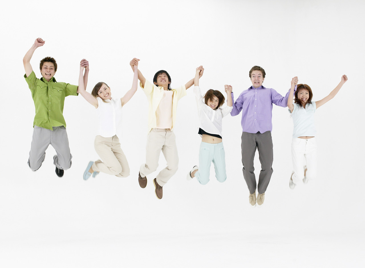 People leaping together