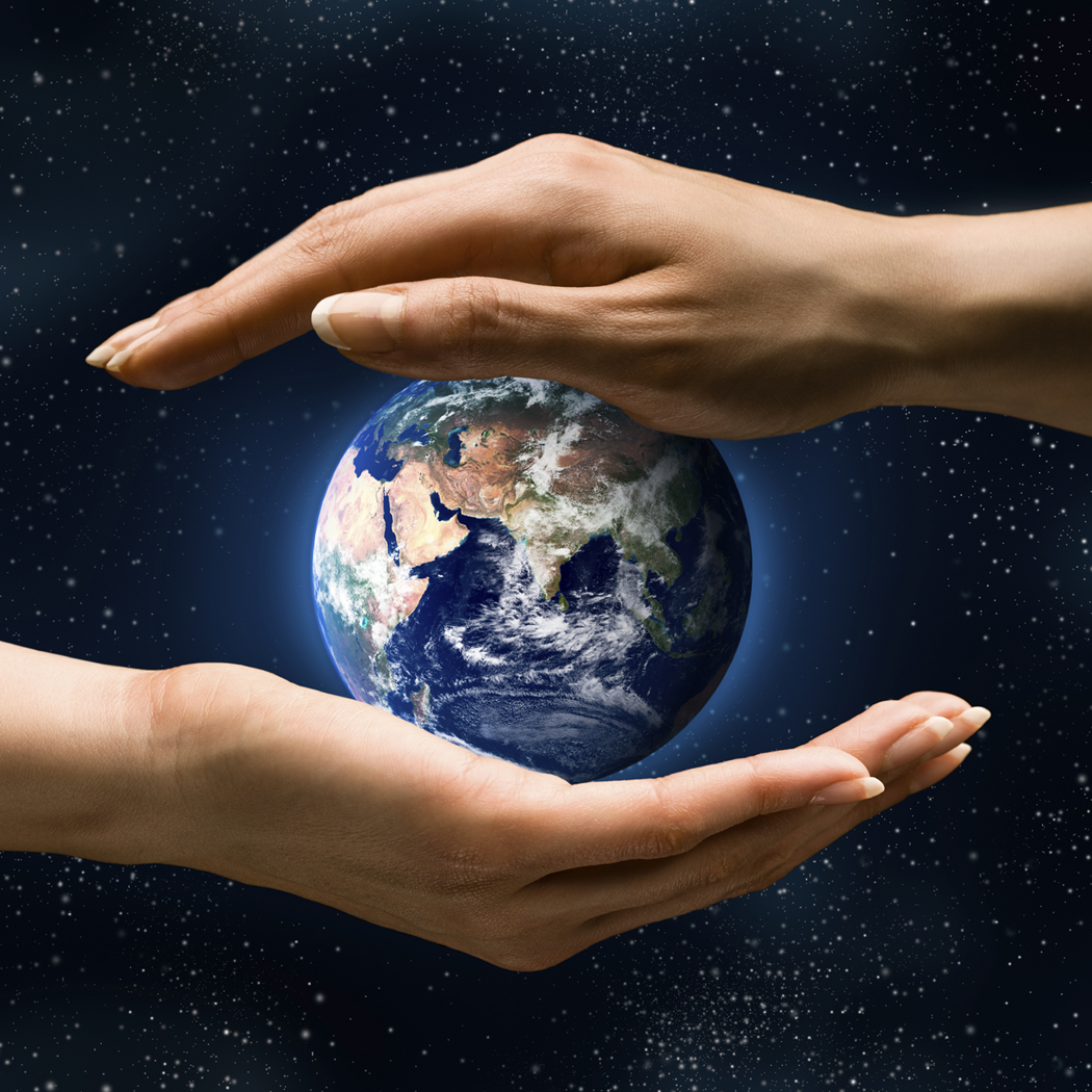 Earth held in hands