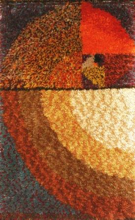 Rya Rug with Golden Rectangle Pattern