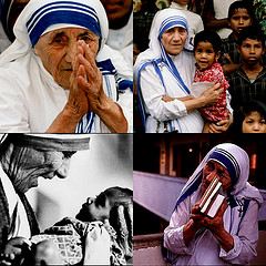 Mother Teresa aiding orphans