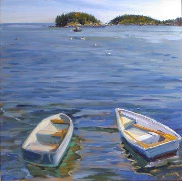 Two Boats Painting by Candy Barr