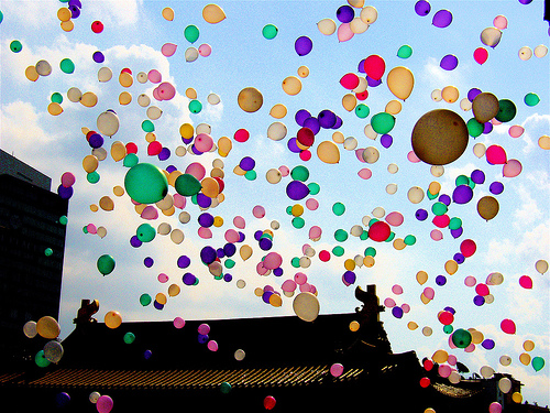 Celebration with balloons in Shanghai
