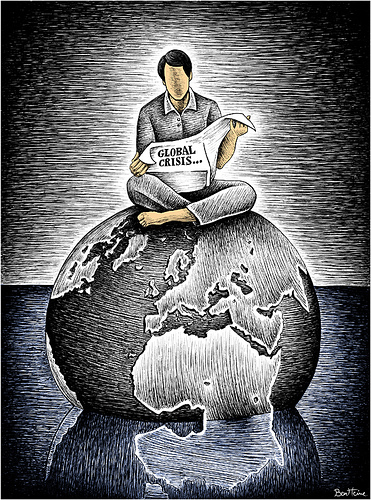 Newspaper reader sitting on globe
