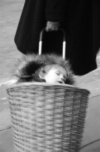 Boy in a basket. Mum in a hurry.