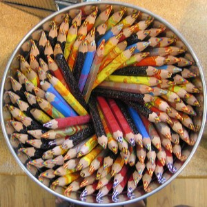 Spiral of pencils, signifying specific steps to make change