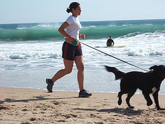 Jogging with a dog