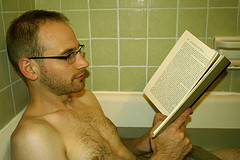 reading in the tub