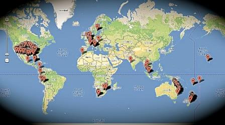 Travel map of 22 countries on six continents