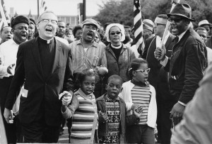 King and the Abernathy Children front-line in the Selma march
