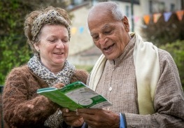Satish and Rosalind look at Walk Fest Programme